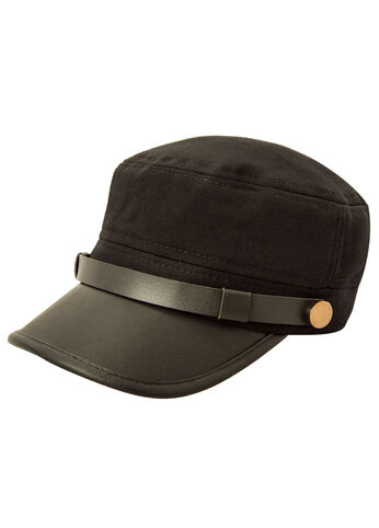 Faux Leather Brim Cabby Hat