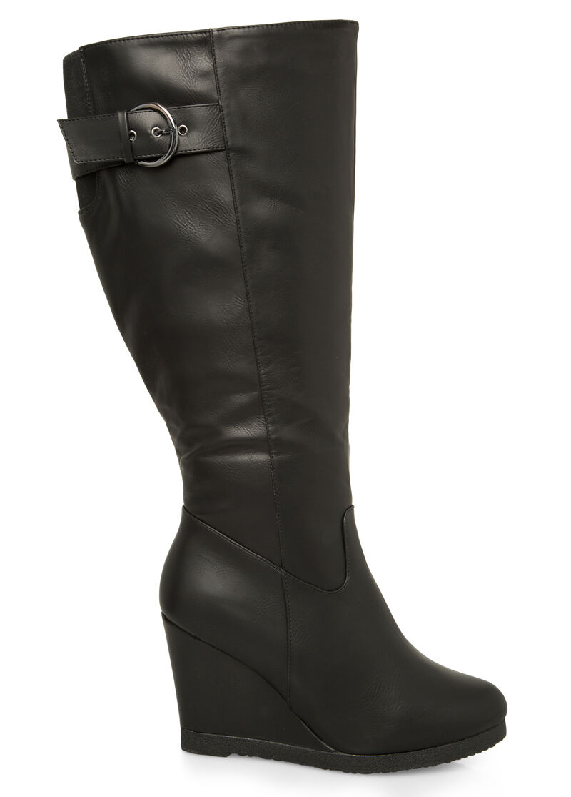 buckle wedge boot wide calf boots stewart 068