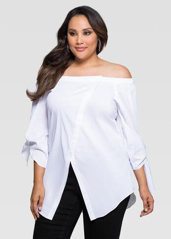 Off-Shoulder Crossover Front Shirt