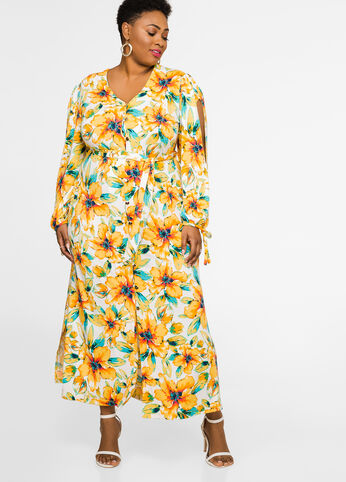 Floral Slit Sleeve Maxi Dress