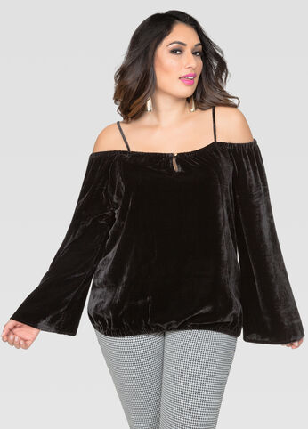 Velvet Cold Shoulder Peasant Top