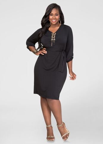 Plus Size Chain Link Shirtdress in Black - Front