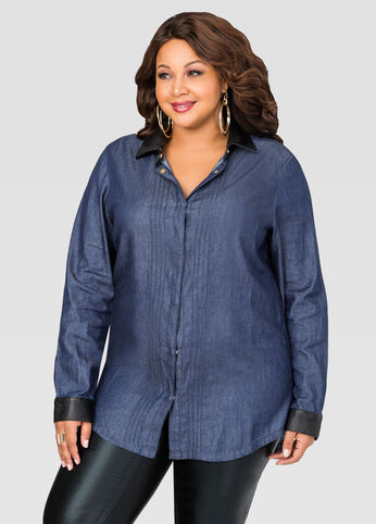 Faux Leather Indigo Rinse Denim Shirt