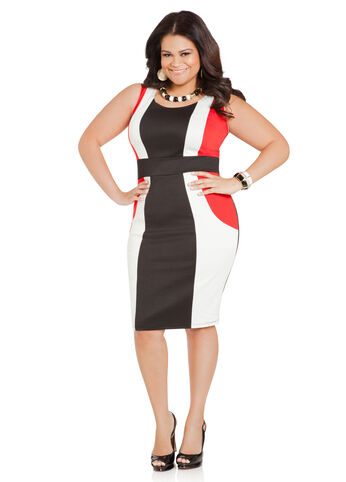 Tri-Color Ponte Sheath Dress