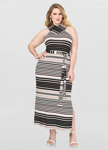 Plus Size Criss-Cross T-Shirt Maxi Dress in Black/White - Front