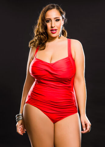 Solid Red One Piece Swimsuit