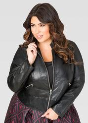 Zip Faux Leather Jacket