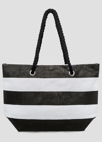 Large Striped Straw Tote