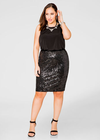 Blouson Top Sequin Skirt Dress