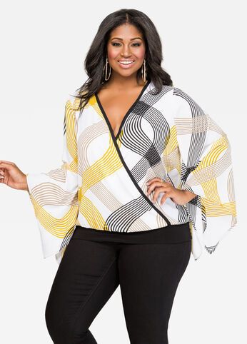 Abstract Stripe Surplice Blouse