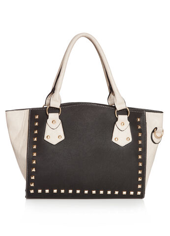 Studded Color Block Satchel