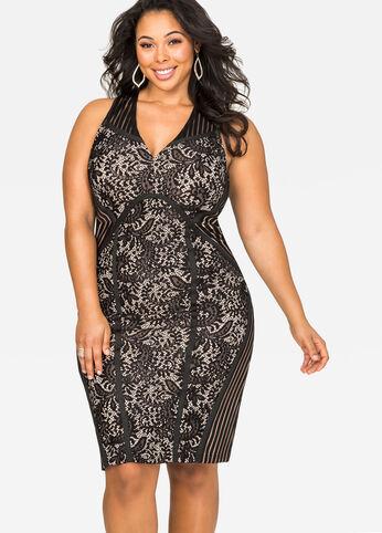 Shadow Stripe Lace Sheath Dress