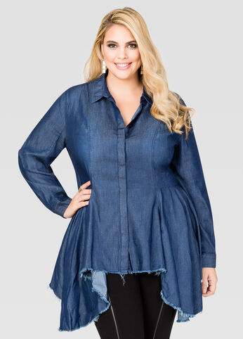 Frayed Hem Peplum Denim Shirt