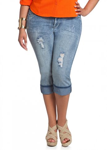 Destructed Denim Capri