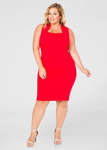 Square Neck Sheath Dress