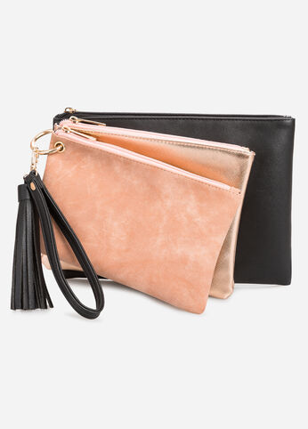 Metallic Suede Trio Pouch Set