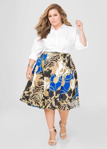 Status Print Flare Skirt