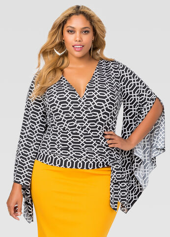 Printed Bell Sleeve Tie Front Top