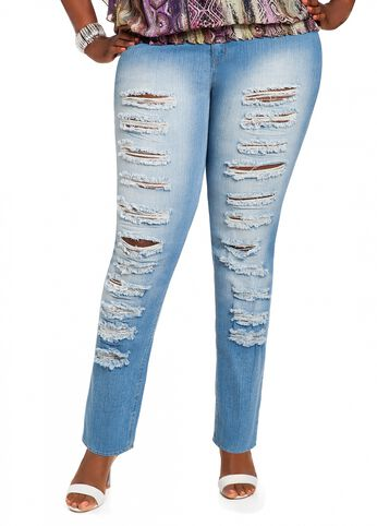 Medium Wash Destructed Denim