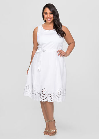 Linen Eyelet A-Line Dress