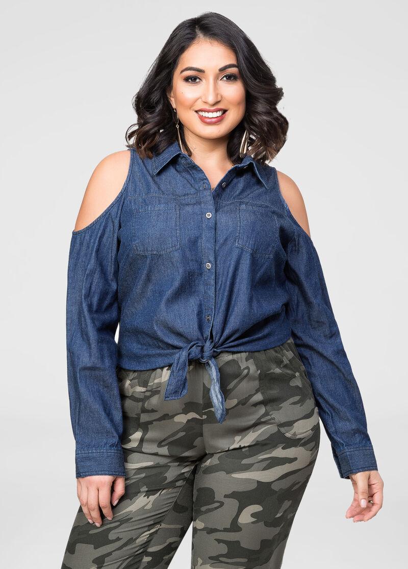 Tie Front Cold-Shoulder Denim Shirt-Plus Size Jeans-Ashley Stewart