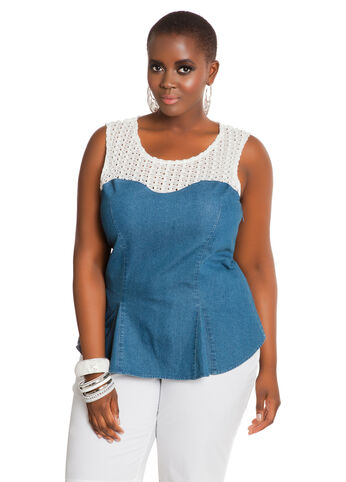 Denim Peplum Crochet Top