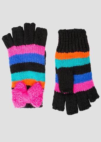 Bold Bow Striped Fingerless Gloves