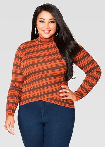 Striped Envelope Hem Mock Neck Top