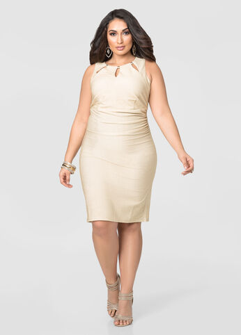 Ruched Triple Keyhole Metallic Dress