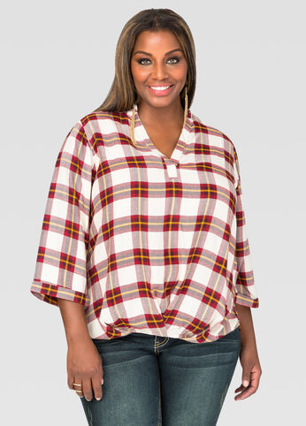 Hi-Lo Plaid Top