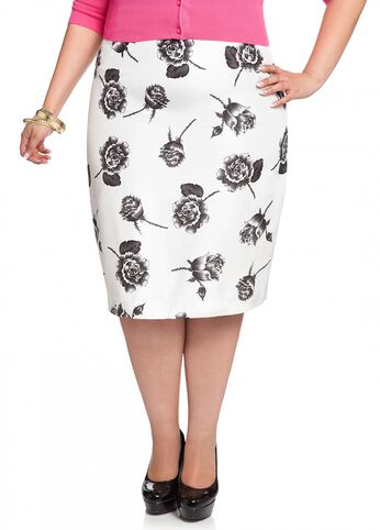 Shantung Floral Print Pencil Skirt