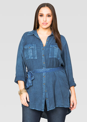 Belted Rayon Denim Tunic