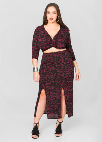 Printed Double Split Skirt