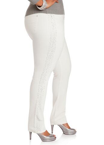 Iridescent Side Skinny Denim Pants