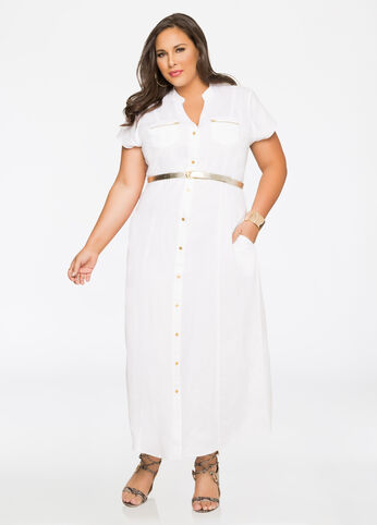 Belted Linen Maxi Dress