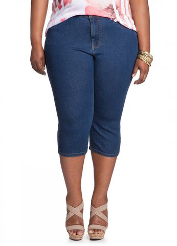 Medium Blue Wash Denim Capri