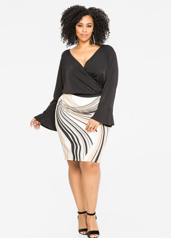 Swirl Stripe Pencil Skirt