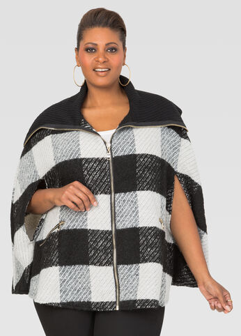 Zip Front Plaid Cape Jacket