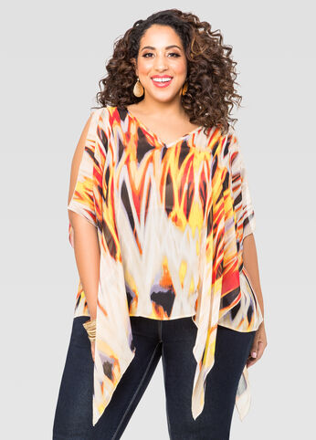 Printed Flutter Sleeve Poncho