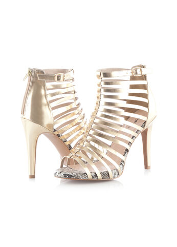 Gold Caged Snake Trim Sandals