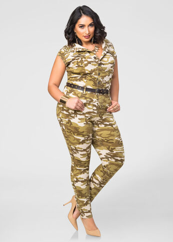 Stud Shoulder Camo Print Jumpsuit
