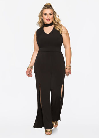 High Slit Mock Neck Jumpsuit