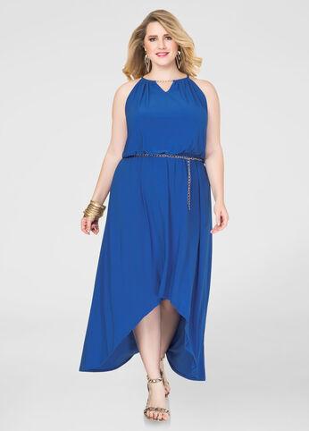 Chain Belt Hi-Lo Maxi Dress