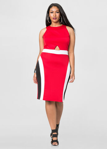 Front Cut-Out Colorblock Dress