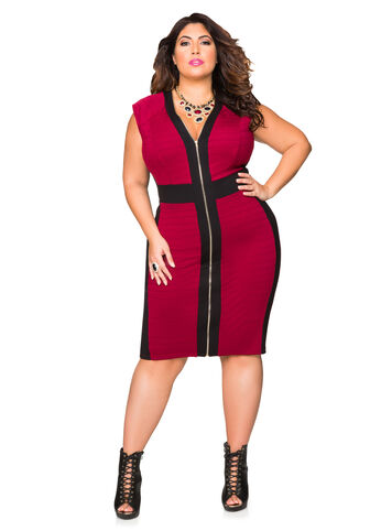 Front Zip Ribbed Knit Bodycon Dress