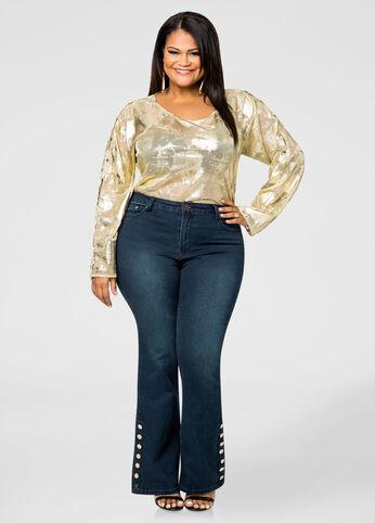Gold Button Bottom Flare Jean