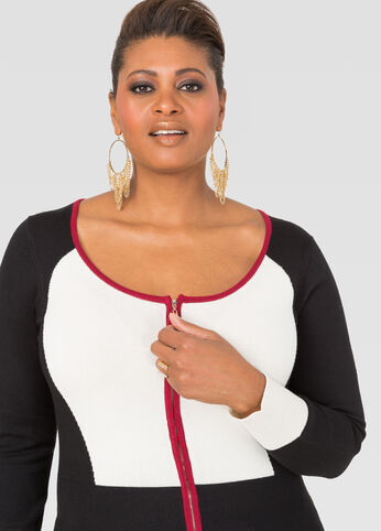 Colorblock Basic Zip Cardigan