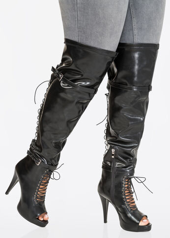 Lace-Up Over The Knee Boot - Wide Calf, Wide Width