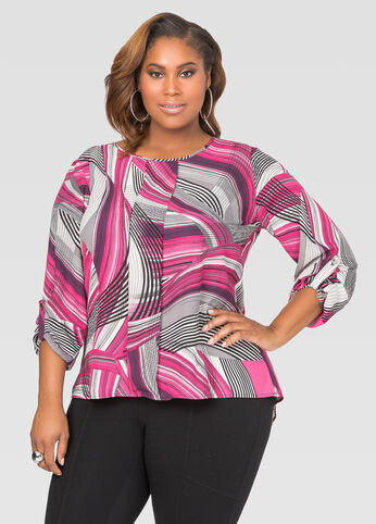 Printed Box Pleat Hi-Lo Blouse