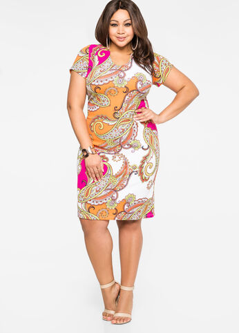 Scoop Notch Paisley Dress